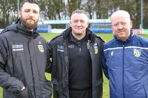 Frickley Athletic management team with Kyle O'Reilly (left) pictured alongside manager Dave Frecklington and assistant manager Damon Parkinson. Picture: Onion Bag Photos