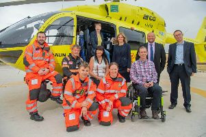 Motorcyclist whose life was saved by Yorkshire Air Ambulance helps launches fundraiser at its Wakefield base
