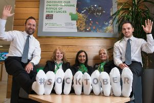 5 September 2018.'YBS Socktober campaign at Briggate branch, Leeds.