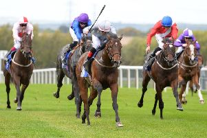 Sod's Law races clear for a victory at Pontefract's most recent meeting. Picture: Alan Wright