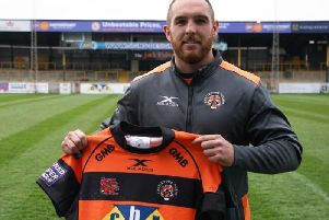 Castleford Tigers' new signing, Daniel Smith, at the Mend-A-Hose Jungle today.