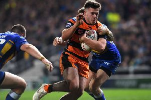 Calum Turner in action for Castleford Tigers against Leeds Rhinos.