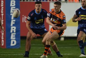 Jake Trueman in action for Castleford Tigers against Wigan Warriors. Picture: Matthew Merrick