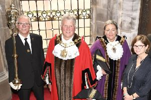 From left to right: mace bearer Rob Smitten, mayor Charlie Keith, deputy mayor Tracey Austin and the council's chief executive Merran McRae