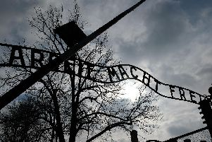 Gates at the front of the Auschwitz death camp, which was set up in Nazi-occupied Poland. An estimated 1.1million Jews died here between 1940 and 1945.