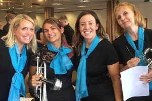 Four lady members of the band, from left, Abi Whyley, Emma Plant, Lauren Whyley and Fern Todhunter.