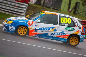 Ruben Hage, of Hucknall, in action in the Junior Saloon Car Championship.