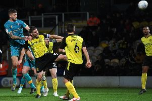 Picture: Andrew Roe/AHPIX LTD, Football, Leasing.com Trophy, Burton Albion v Mansfield Town, Pierlli Stadium, Burton-Upon-Trent, UK, 12/11/19, K.O 7.45pm''Mansfield's Ryan Sweeney heads his side 2 nil up'Howard Roe>07973739229