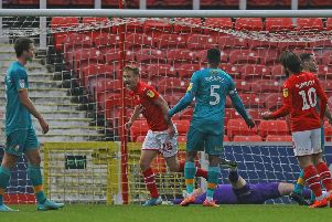 Picture Gareth Williams/AHPIX LTD, Football, Sky Bet League Two, Swindon Town v Mansfield Town, County Ground, Swindon, UK, 23/11/19, K.O 3pm''Howard Roe>07973739229''Eoin Doyle celebrates after giving Swindon the lead against Mansfield