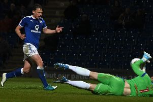 Picture Andrew Roe/AHPIX LTD, Football, EFL Sky Bet League Two, Chesterfield v Newport County, Proact Stadium, 01/05/18, K.O 7.45pm''Chesterfield's Kristian Dennis has his shot saved by Newport's keeper Joe Day''Andrew Roe>>>>>>>07826527594