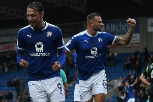 Chesterfield's Kristian Dennis celebrates his equaliser against Carlisle