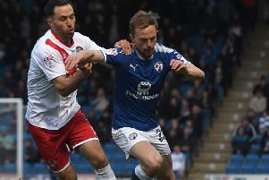 Picture Andrew Roe/AHPIX LTD, Football, EFL Sky Bet League Two, Chesterfield v Newport County, Proact Stadium, 01/05/18, K.O 7.45pm''Chesterfield's Andy Kellett fends off Newport's Robbie Willmott''Andrew Roe>>>>>>>07826527594
