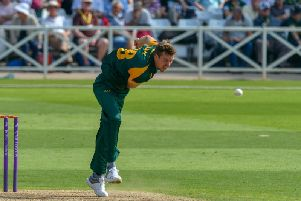 Notts seamer Jake Ball pictured in action. Pic by Simon Trafford.