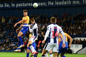Picture by Howard Roe/AHPIX.com;Football;Skybet;Carabao Cup; Round 2'West Bromwich Albion v Mansfield Town'28/8/2018  KO 8.00 pm; The Hawthorns;'copyright picture;Howard Roe;07973 739229''Stag's Ryan Sweeney heads the ball back into the Baggies box