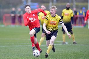 Match action from Hucknall Town's 4-0 derby win at Linby which sent them top of the table.