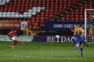 Picture by Gareth Williams/AHPIX.com; Football; Emirates FA Cup; Charlton Athletic v Mansfield Town; 20/11/18  KO 19:45; The Valley; copyright picture; Howard Roe/AHPIX.com; Charlton's Nicky Ajose tucks home their fifth against Mansfield
