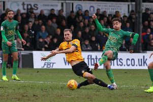 Picture by Gareth Williams/AHPIX.com; Football; Sky Bet League Two; Newport County v Mansfield Town; 9/2/2019  KO 15.00; Rodney Parade; copyright picture; Howard Roe/AHPIX.com; Mansfield's Tyler Walker shoots but can't find enough power to beat County keeper Joe Day