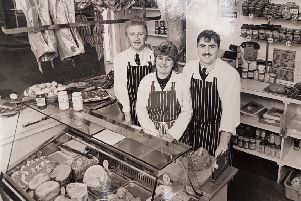 Butcher Chris Cassidy (right) opens his new shop back in 1989, with wife Lorraine and her brother, staff member, Shaun Gillott.