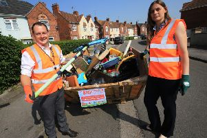 'Flying skips' in Hucknall this morning for Big Ashfield Spring Clean