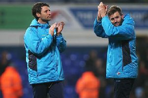 Danny Cowley manager of Lincoln City  and his brother and assistant manager Nicky Cowley.
