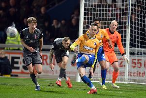 Mansfield Town v Lincoln City.'Gethin Jones clears a Lincoln attack.