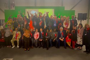 Jubilant Labour members after the election.