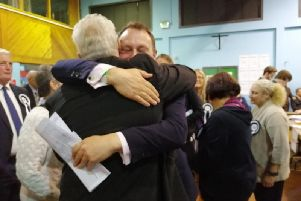 Councillors Jason Zadrozny and Tony Brewer celebrate as they discover the Ashfield Independents have secured a majority.