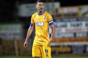 Mansfield Town v Newport County'English League Football - Sky Bet League Two'One Call Stadium, Field Mill, Mansfield, England.'19th August 2014''Mansfield Town's John Dempster.''Picture by Dan Westwell (PLEASE BYLINE)''dan.westwell@btinternet.com'07793 733140