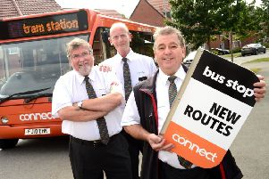 Trentbarton drivers (from left) Eric Robinson, Ashley Wall and Paul 'DJ' Frettingham promoting the new routes.