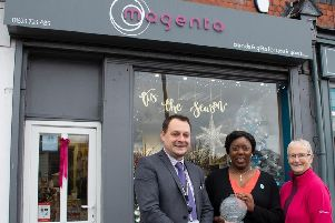 Coun Rachel Madden (right) and council leader, Coun Jason Zadrozny, with one of the Forest Road retailers, Jeanine Laurent, of Magenta.