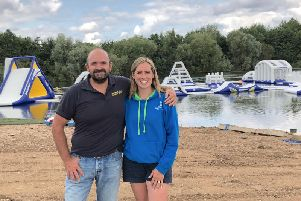 Richard and Katie Hill, pictured in front of the Aqua Park at Spring Lakes Watersports Centre
