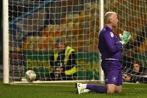 Picture: Andrew Roe/AHPIX LTD, Football, Carabao Cup First Round, Mansfield Town v Morecambe, One Call Stadium, Mansfield UK, 13/08/19, K.O 7.45pm''Mansfield's Conrad Logan during the penalty shoot out'Howard Roe>>>>>>>07973739229