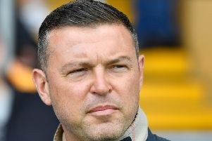 Mansfield Town manager John Dempster before the game: Picture Steve Flynn/AHPIX LTD, Football, Sky Bet League Two, Mansfield Town v Morecambe, One Call Stadium, Mansfield, UK, 10/08/19, K.O 3pm''Howard Roe - 07973739229