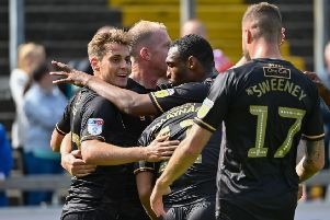 Mansfield Town's Danny Rose celebrates scoring with team mates: Picture Steve Flynn/AHPIX LTD, Football, Sky Bet League Two, Carlisle United v Mansfield Town, Brunton Park, Carlisle, UK, 17/08/19, K.O 3pm''Howard Roe 07973739229