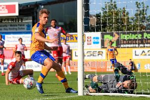 Picture John Hobson/AHPIX LTD, Football, Sky Bet League Two, Mansfield Town v Stevenage, One Call Stadium, Mansfield, UK, 24/08/19, K.O 3pm''Mansfields Danny Rose comes close to breaking the deadlock''Howard Roe>>>>>>>07973739229