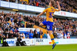 Picture John Hobson/AHPIX LTD, Sky Bet League Two, Mansfield Town v Scunthorpe United, One Call Stadium, Mansfield, UK, 07/09/19, K.O 3pm''Mansfields Danny Rose celebrates after making it 2-0''Howard Roe>07973739229