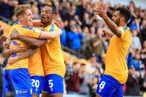 Picture John Hobson/AHPIX LTD, Sky Bet League Two, Mansfield Town v Scunthorpe United, One Call Stadium, Mansfield, UK, 07/09/19, K.O 3pm''Danny Rose and Mansfield players celebrate after making it 2-0''Howard Roe>07973739229