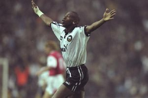 Paulo Wanchope celebrates scoring for Derby against Arsenal.