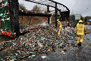 Highways England posted this picture on Twitter of the aftermath of the lorry fire.