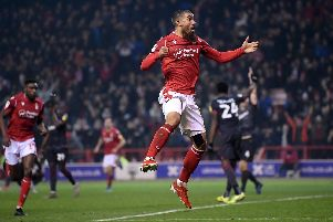 Nottingham Forest striker Lewis Grabban. Photo by Laurence Griffiths/Getty Images.