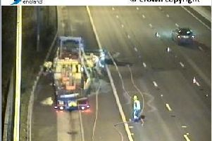 The scene of the lorry fire on the M1 (photo: Highways Agency).