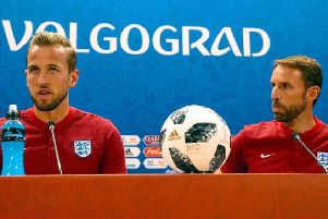 England captain, Harry Kane (left) with England manager, Gareth Southgate, in Volgograd.