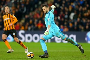 HULL, ENGLAND - JANUARY 27: Nottingham Forest's goalkeeper Jordan Smith clears the ball out of the box during the Emirates FA Cup Fourth Round match between Hull City and Nottingham Forest at KCOM Stadium on January 27, 2018 in Hull, England. (Photo by Ashley Allen/Getty Images)
