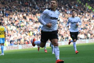 Martyn Waghorn wheels away after scoring his first goal. Photo by Jez Tighe.