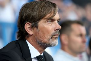 Phillip Cocu looks on during the Sky Bet Championship match between Huddersfield Town and Derby County. (Photo by Lewis Storey/Getty Images)