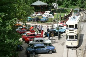 Colassic transport gathering at Crich Tramway Village.