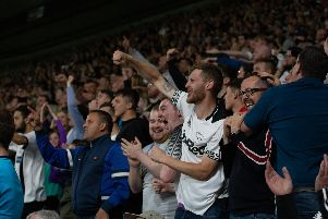 Derby County fans at the match with Bristol City.