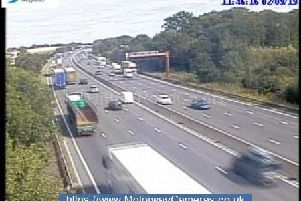 Traffic is building up on the M1