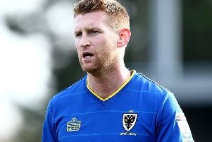 Chris Robertson playing for AFC Wimbledon in 2017.