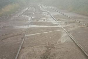 A mudslide on the rail track at Bentham, North Yorkshire